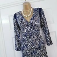 Autograph Navy Multi Abstract Floral Ruched Stretch Dress UK 14 Wedding Race