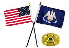 "Louisiana State w/ USA America American Flag 4""x6"" Desk Set Table Gold Base"