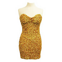 Bandeau Sequin Mini Dress Padded Celeb Backless Bodycon Clubwear Prom Party New