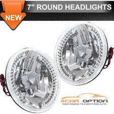 Round Crystal 7 Inch VW Sealed Beam Replacement LED Lamp Headlights With H4 Bulb