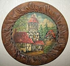 30's or 40's German Venezuela Colonia Tovar Carved Plate Painting Signed TR