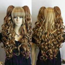 Long Wavy Curly Pony Pig Tail Blonde Yellow Brown Mix Full Neat Bang Hair Wigs