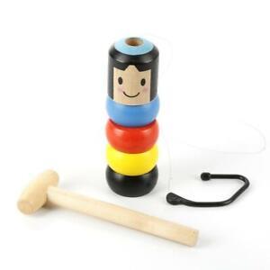 Immovable Tumbler Magic Stubborn Wood Man Toy Funny Unbreakable Toys Magic
