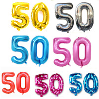 "40"" 50th Large Number Foil Helium Balloons Birthday Anniversary Party DIY Decor"