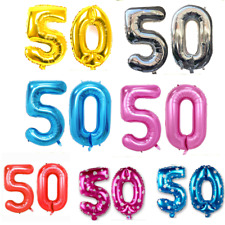 """Giant Foil Number Balloons 40"""" 100cm 50th Helium Birthday Anniversary Decoration"""