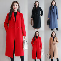 Women Wool Lapel Long Trench Coat Parka Jacket Overcoat Lady Winter Outwear Tops