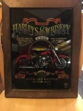 Vintage 80's Harley's & Whiskey Mirror , Rare Licensed Harley Product .