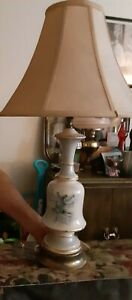 Mid century modern porcelain and brass table lamp