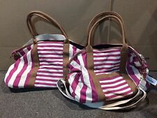 Lot Of 2 Stylish Plastic & Canvas Reusable Tote Bags Pink With White Stripe Xl