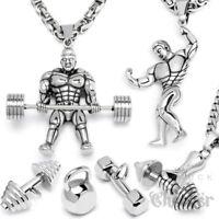 Edelstahl Schmuck Anhänger Hantel Fitness Bodybuilder Training Herren Halskette