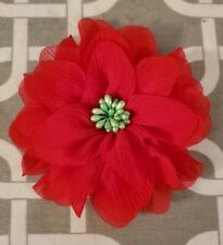 """New listing 4"""" Red With Green Center Dog Collar Flower"""