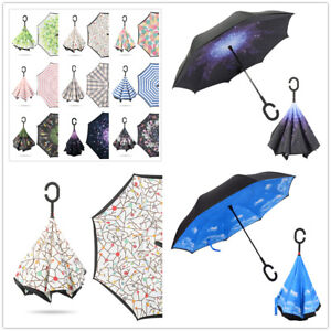 Upside Down Reverse Windproof Umbrella Double Layer Inside-Out Inverted C-Handle