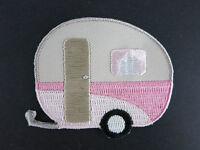 Caravan Iron On Patch Campervan Pink Cream 50s PinUp Rockabilly Vintage Round