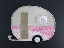 Caravan Iron On Patch Campervan Pink Cream 50s PinUp Rockabilly Vintage Round