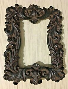Early Victorian Black Forest Wood Carved Baroque Style Table Picture Frame