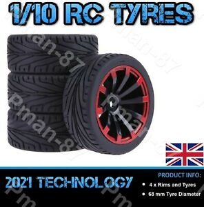 DELUXE 1/10 RED On Road Soft Tread Nitro Car RC Wheel and Tire Tyre x 4 68mm