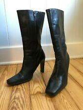 "White Mountain ""Yasmin""  Black High Heels Square Toe Calf High Boots Sz 8.5M"