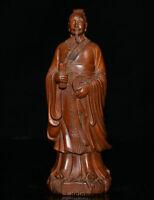 "8,4 ""China Boxwood Holz geschnitzt Taoismus Fan Li Politiker Militarist Statue"