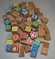 "Vintage Wood Toy Blocks 1 1/4"" approx 75 pieces"
