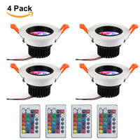 4x Dimmable Color Change 5W RGB LED Recessed Ceiling Light Downlight Remote Lamp