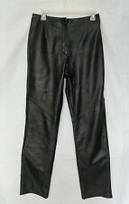 Black Leather Moto Pants Women's 6 29Wx32L Lambskin Tapered Leg Clothes by Revue
