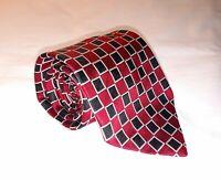 Turnbull & Asser Neiman Marcus Mens Necktie Tie Red Black Geometric 100% Silk