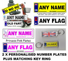 2 x Personalised Novelty Number Plates MOBILITY SCOOTER/WHEELCHAIR + a key-ring