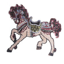 Pink Sequin Horse Patches Decorated Embroidered Sew on Patches Fabric Motifs
