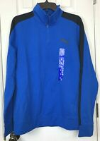NWT Puma Stretchlite 1/2 Zip Top Shirt Large Pullover Lapis Blue Black Stretch