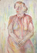 EXPRESSIONISM VINTAGE WC PAINTING PORTRAIT SEATED WOMAN