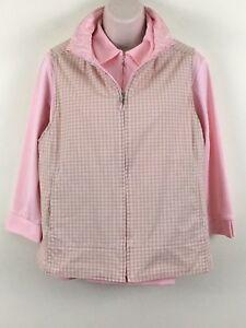 Sport Haley Golf Top Reversible Vest Medium Pink Beige Plaid Long Sleeve Shirt