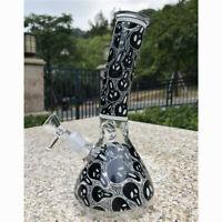 8'' Hookah Water Pipe Bong Glass Smoking Glow in the Dark Hookah Black Skull
