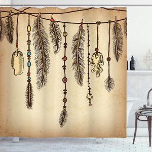 Tribal Shower Curtain Bohemian Feathers Print for Bathroom