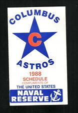 Columbus Astros--1989 Pocket Schedule--US Naval Reserve