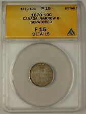 1870 Canada Silver Dime Coin 10c Narrow 0 ANACS F-15 Details Scratched