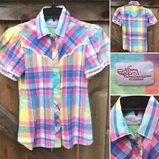 Vintage Kenny Rogers Western Collection By Karman Plaid Shirt 80s 1980s S XS