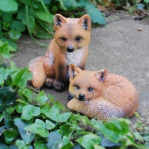 Pair of Fox Garden Animal Ornaments Outdoor Wildlife Statues