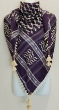 SL Purple Tan Shemagh Head Scarf Neck Wrap Tactical Cotton Arab Face Cover Gold