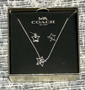 NEW Coach Star Silver Necklace and Earring Set NIB F37600