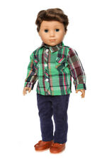 GREEN PLAID SHIRT + PANTS + SHOES Doll Clothes for 18 inch American Boy Doll