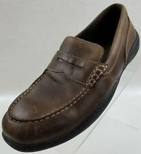Rockport Penny Loafers Moc Toe Driving Mens Brown Leather Slip On Shoes Sz 10.5