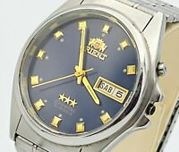 ORIENT Crystal Automatic Watch 21J Day/Date Stainless Steel Japan Made 1970's