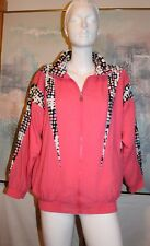 J Casuals Vintage 1980's Jacket in Bright Pink with Multicolor Patches Size S