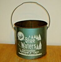Vintage Blue Waters Non-Floating Retro Metal Minnow Bucket w/ Handle (No Insert)