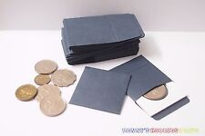 """50 x New Coin Paper Envelopes 2""""x2"""" w/ Flap Dark Blue Fit to Cardboard Coin Flip"""