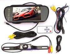 "7"" LCD HD Car Rear View Backup Mirror Monitor+Wired Reverse IR Camera System Kit"