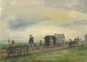 Harold Hope Read, Along the Promenade – Early 20th-century watercolour painting