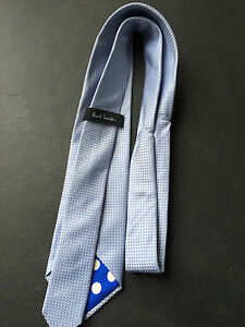 Paul Smith Seidenkrawatte Blau Diamant Muster Polka Futter 8cm Klinge