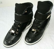 bebe Women's Sport Colby Hidden Wedge Black Gold Accents Sneakers Shoes Size 11