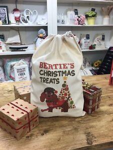 Personalised Dog Santa Sack Treat Bag -  Chocolate Cockapoo - Bertie Design